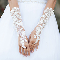 Pearl Embellish Flower Lace Up Fingerless Wedding Gloves