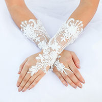 Floral Lace Fingerless Wedding Gloves