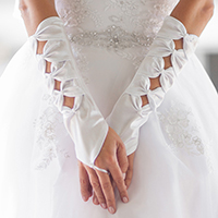 Satin Bows Fingerless Bridal Gloves