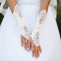 Floral Lace Up Satin Fingerless Wedding Gloves