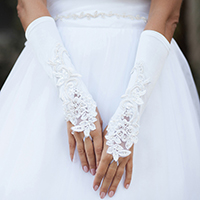Lace Flower Satin Fingerless Wedding Gloves