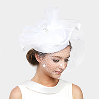 Ruffle Mesh Flower Feather Hat / Headband