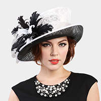 Feather Centered Large Side Brim Sinamay Hat