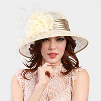 Flower Ornament Large Down Brim Feather Sinamay Hat