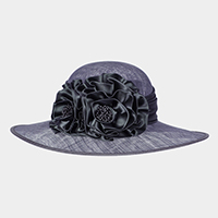 Two Tone Flower Centered Medium Brim Satin Sinamay Hat