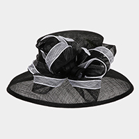 Loopy Cluster Feather Large Down Brim Sinamay Hat