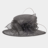 Feather Leaf Centered Medium Side Brim Sinamay Hat