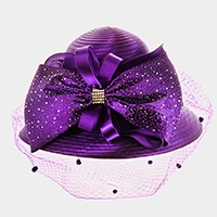 Large Bow on Front Netting Satin Braid Hat