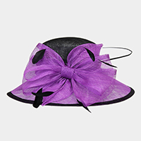 Floral Feather Centered Medium Two Tone Sinamay Hat