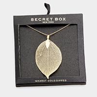 Secret Box _ 14K Gold Dipped Natural Filigree Leaf Necklace