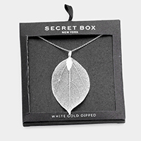 Secret Box _  White Gold Dipped Natural Filigree Leaf Necklace