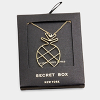 Secret Box _ 14K Gold Dipped Pineapple Pendant Necklace