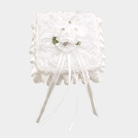 Floral Bouquet Ruffles Lace Wedding Ring Pillow Box