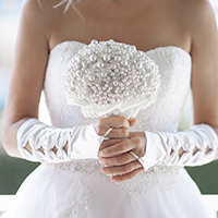 Intricate Beads Pearls Wedding Bouquet