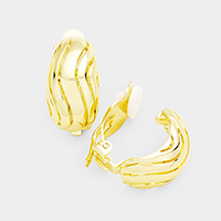 Wavy Half Round Metal Clip on Earrings