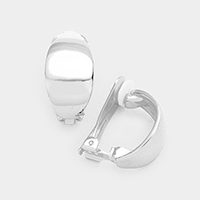 Half Round Metal Clip on Earrings