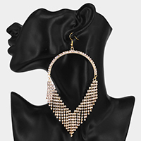 Oversized Teardrop Pave Rhinestone Fringe Evening Earrings