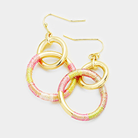 Metal Hoop Colorful Thread Wrapped Hoop Link Earrings