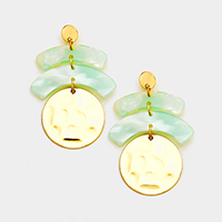 Geo Celluloid Hammered Metal Disc Link Earrings