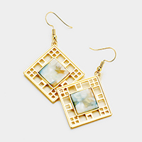 Cut Out Metal Square Celluloid Bead Accented Earrings
