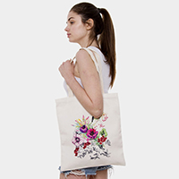 Floral and Bird Print Canvas Tote Bag