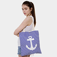 Stripe Anchor Print Canvas Tote Bag