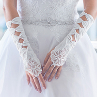 Satin Bows Lace Fingerless Bridal Gloves