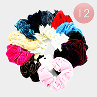 12PCS - Velvet Scrunchie Hair Bands