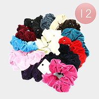 12PCS - Pearl Velvet Scrunchie Hair Bands