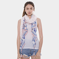 Elephant Patterned Oblong Scarf