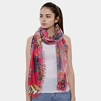Feather Patterned Oblong Scarf
