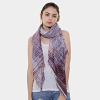 Jeans Theme Print Short Fringes Oblong Scarf
