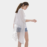 Floral Embroidery Sheer Mesh Back Long Cardigan