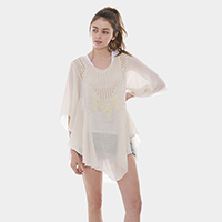 Solid Metallic Embroidered Print Poncho