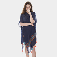 Tribal Poncho with Tassel Decor