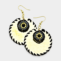 Thread Wrapped Textured Metal Disc Beaded Circle Earrings