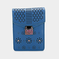 Cut Out Faux Leather Smartphone  Mini Crossbody Bag