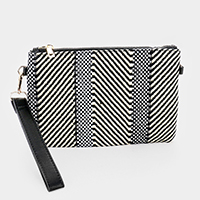 Patterned Color Block Straw Hessian Clutch Bag