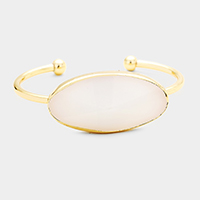 Faceted Oval Stone Cuff Bracelet