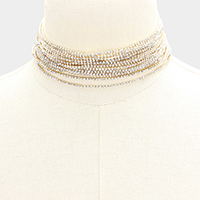 Multi Strand Crystal Rhinestone Pave Choker Necklace