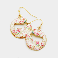 Cut Out Cow Flower Patterned Disc Dangle Earrings
