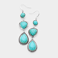 Abstract Triple Turquoise Dangle Earrings