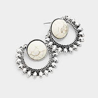 Antique Metal Round Howlite Accented Earrings