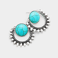 Antique Metal Round Turquoise Accented Earrings