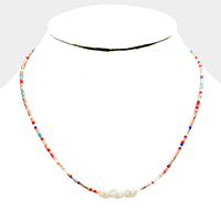 Beaded Triple Freshwater Pearl Necklace