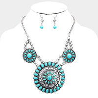 Tribal Turquoise Triple Round Link Bib Necklace