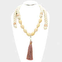 Rope Wood Beaded Drop Tassel Necklace