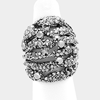 Wide Crystal Rhinestone Pave Cut Out Stretch Ring