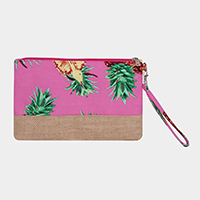 Tropical Fruit Pineapple Print Pouch Bag