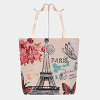 Paris Print Canvas Tote Bag